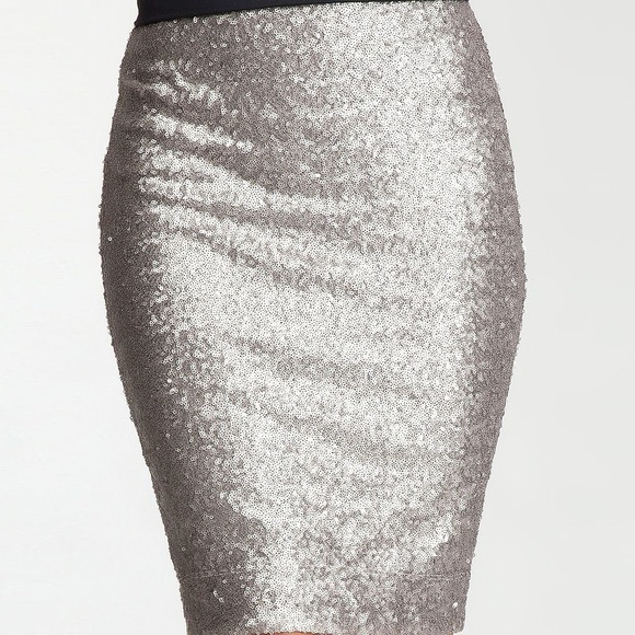 los angeles authorized site the best attitude Bebe Silver Sequin Pencil Skirt